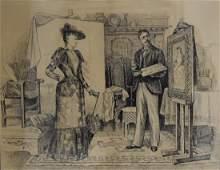 Walter M. Dunk; 19thC. American Ink Illustration Signed