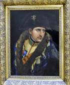 19th C. Reverse Painting on Glass of Napoleon