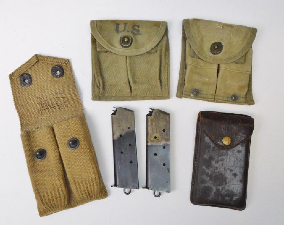 WW1-2 .45 Caliber Pouches with Two Clips, (5pc)