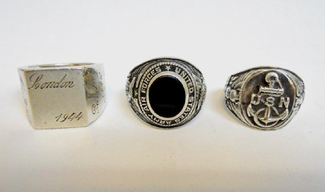 Collection of WW2 US Silver Military Rings, (3pc)