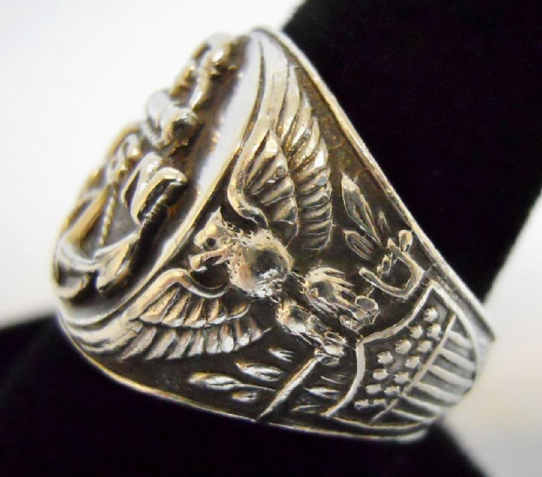 Collection of WW2 US Silver Military Rings, (3pc) - 9
