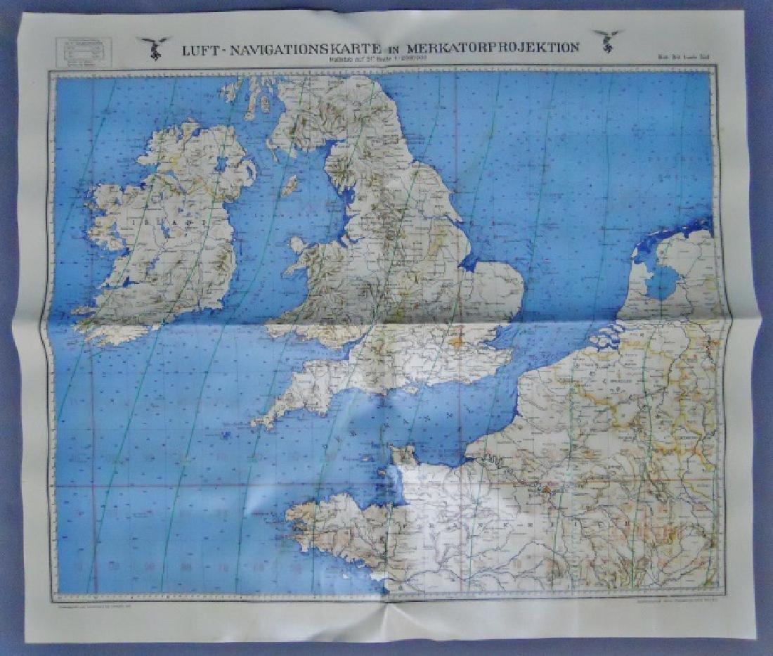 WW2 German Luftwaffe Two Sided Navigation Map,1941