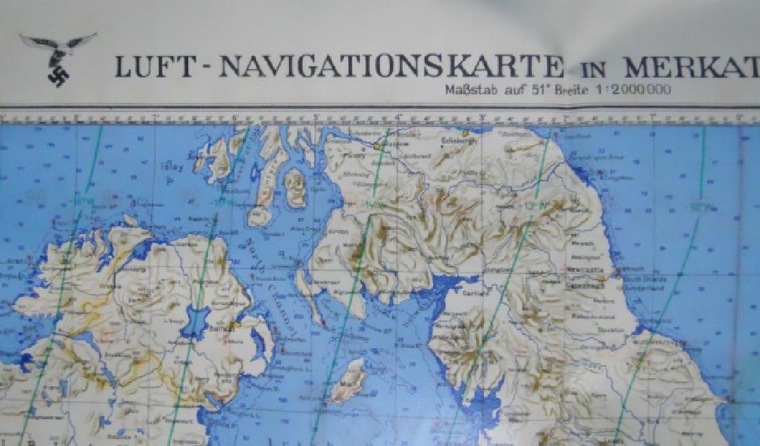WW2 German Luftwaffe Two Sided Navigation Map,1941 - 2