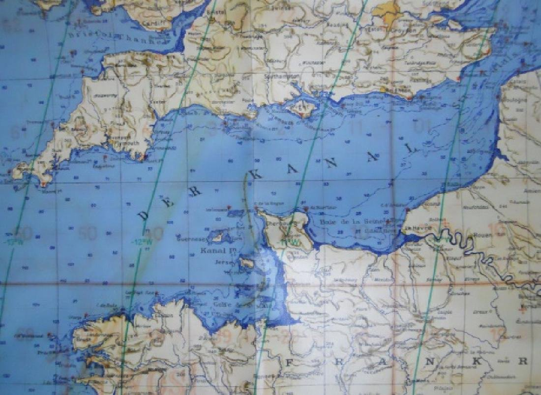 WW2 German Luftwaffe Two Sided Navigation Map,1941 - 4