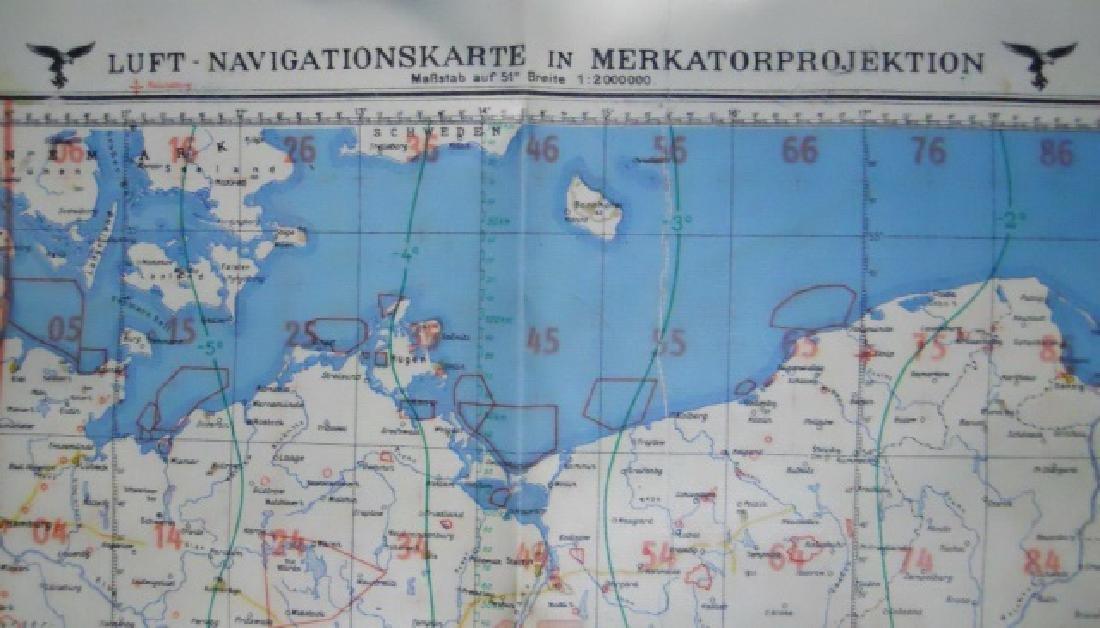 WW2 German Luftwaffe Two Sided Navigation Map,1941 - 6