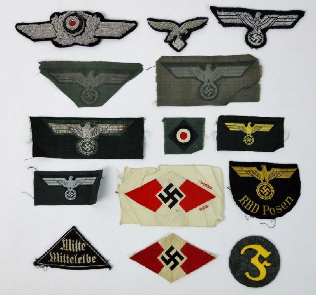 Collection of WW2 German Cloth Insignia, (14pc)