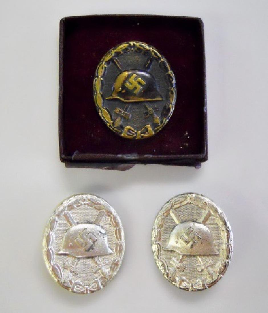 Collection of WW2 German wound badges, (3pc)