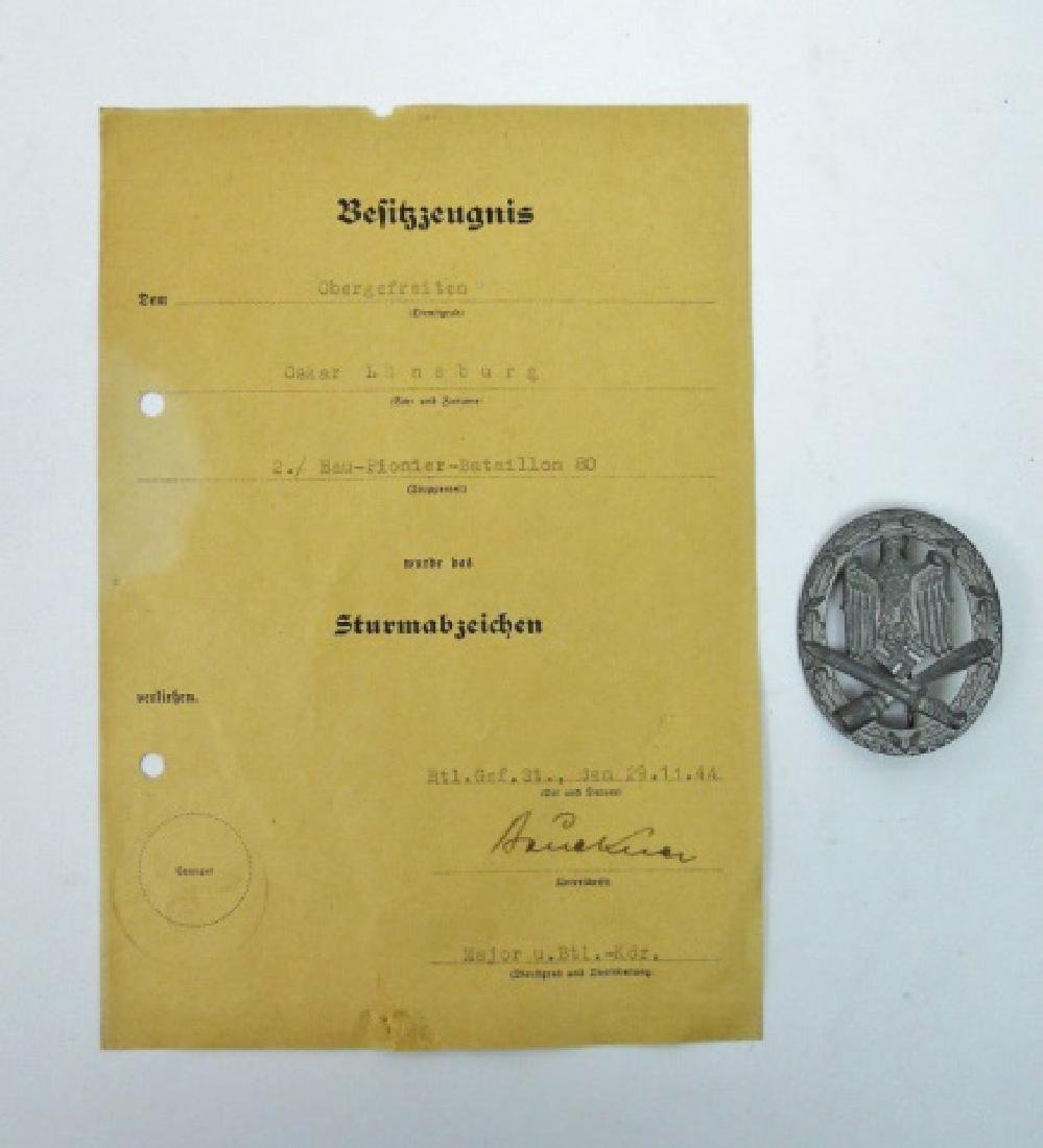 WW2 German Assualt Badge with Document, 15