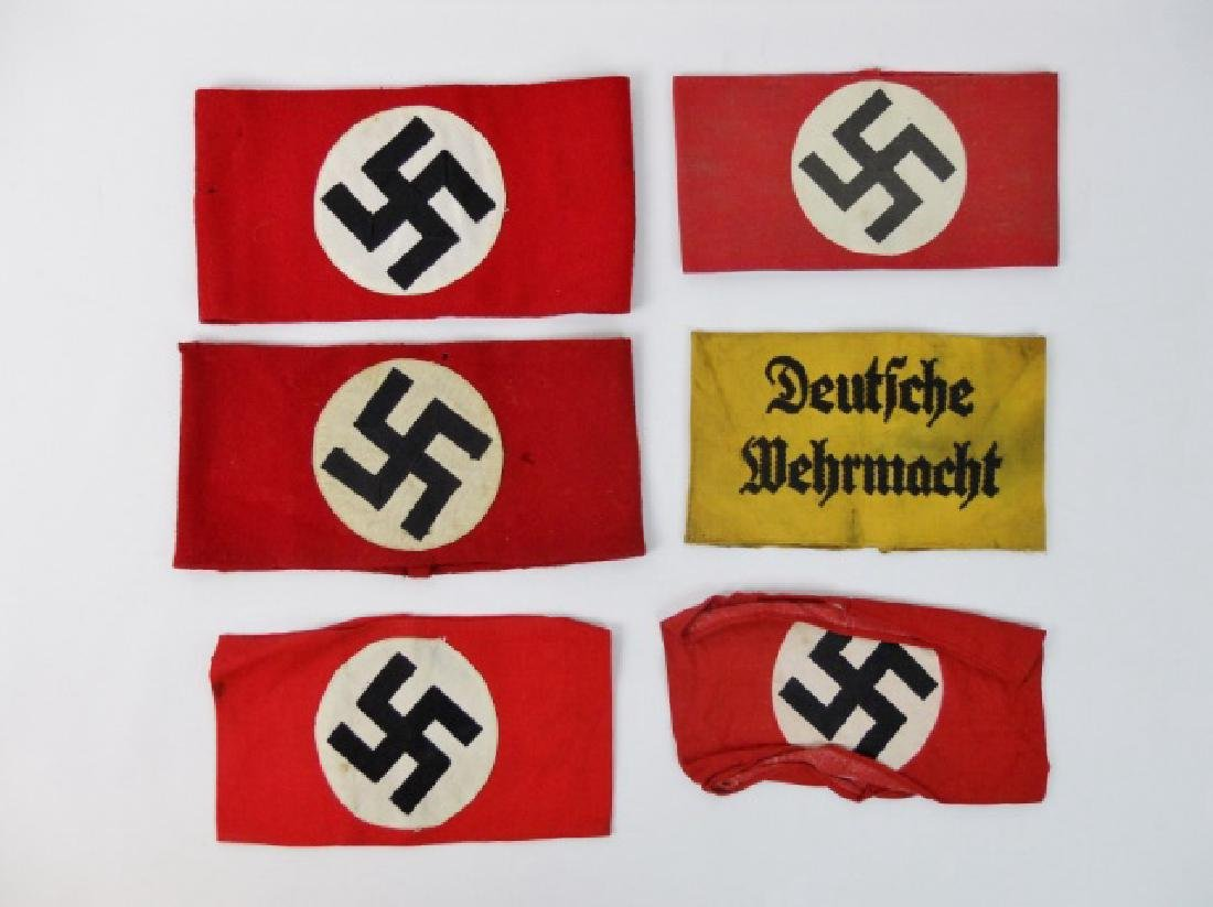 Collection of WW2 German Armbands, (6pc)