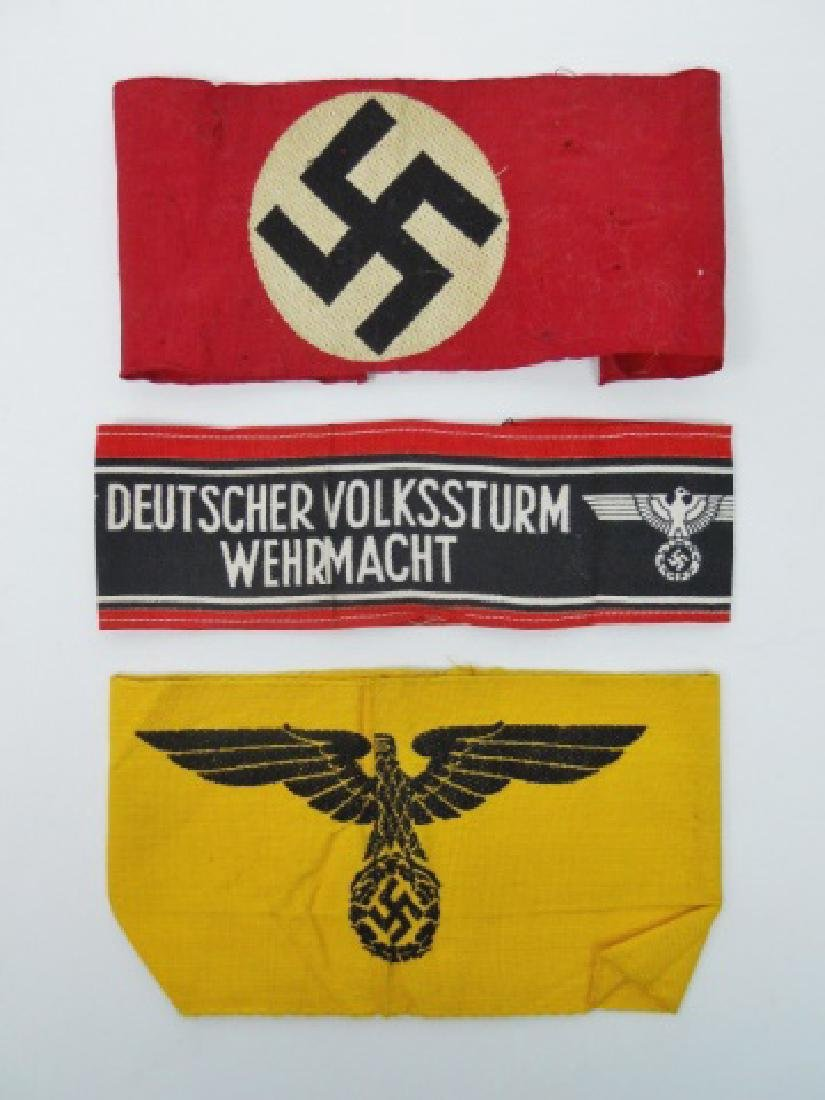 Collection of WW2 German Armbands, (3pc)