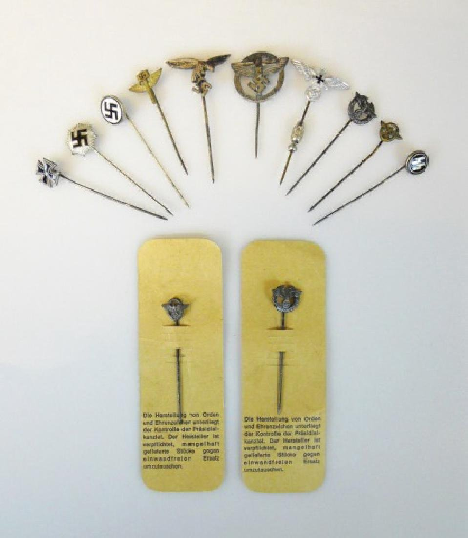Collection of WW2 German Stick Pins, (12pc)