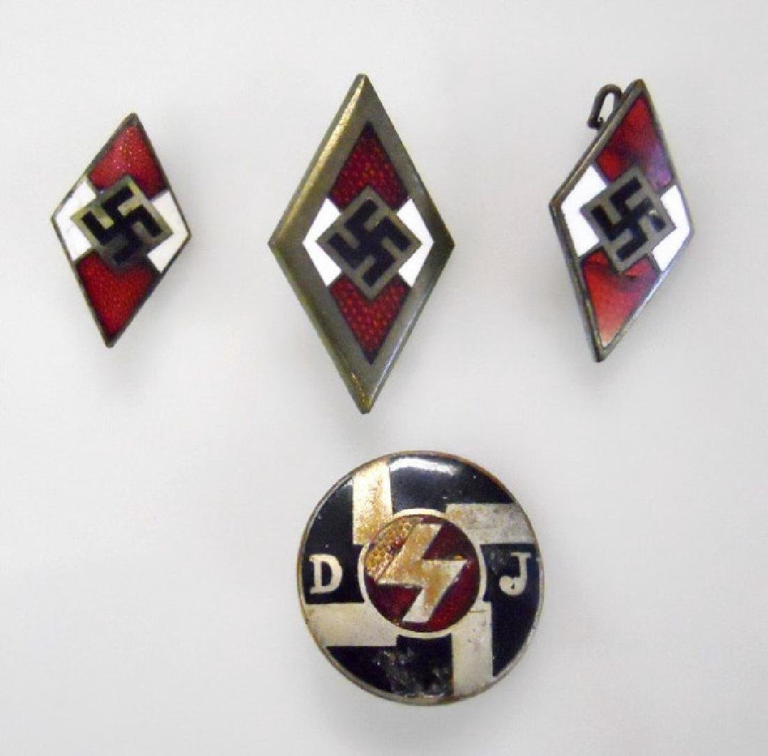 Collection of WW2 German HJ and DJ Pins, (4pc)