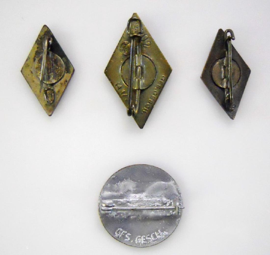 Collection of WW2 German HJ and DJ Pins, (4pc) - 2