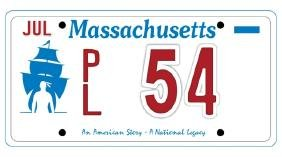 PL54 - Massachusetts License Plate