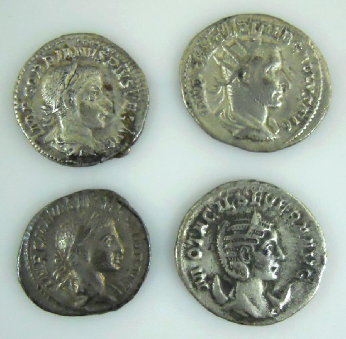 Ancient Roman Silver Denarius Coins, (4pc)