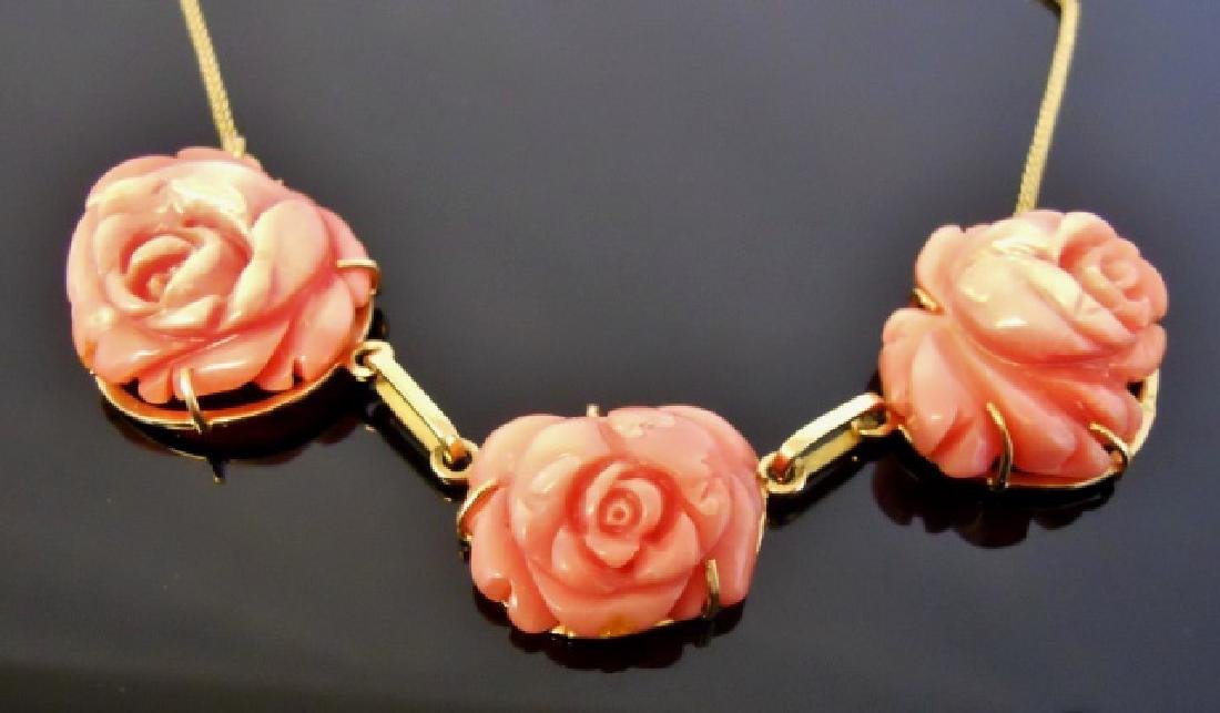 Ladies 14K Gold Carved Coral Necklace