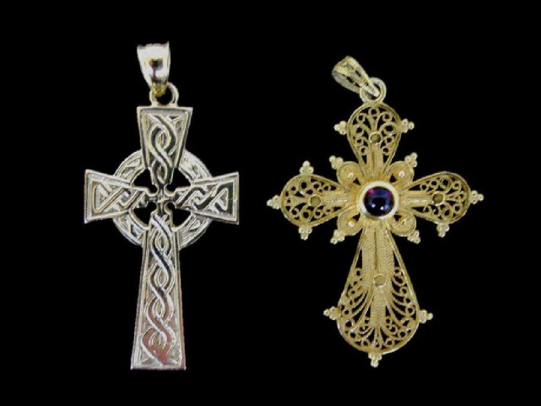 Two 14K Gold Crucifixes