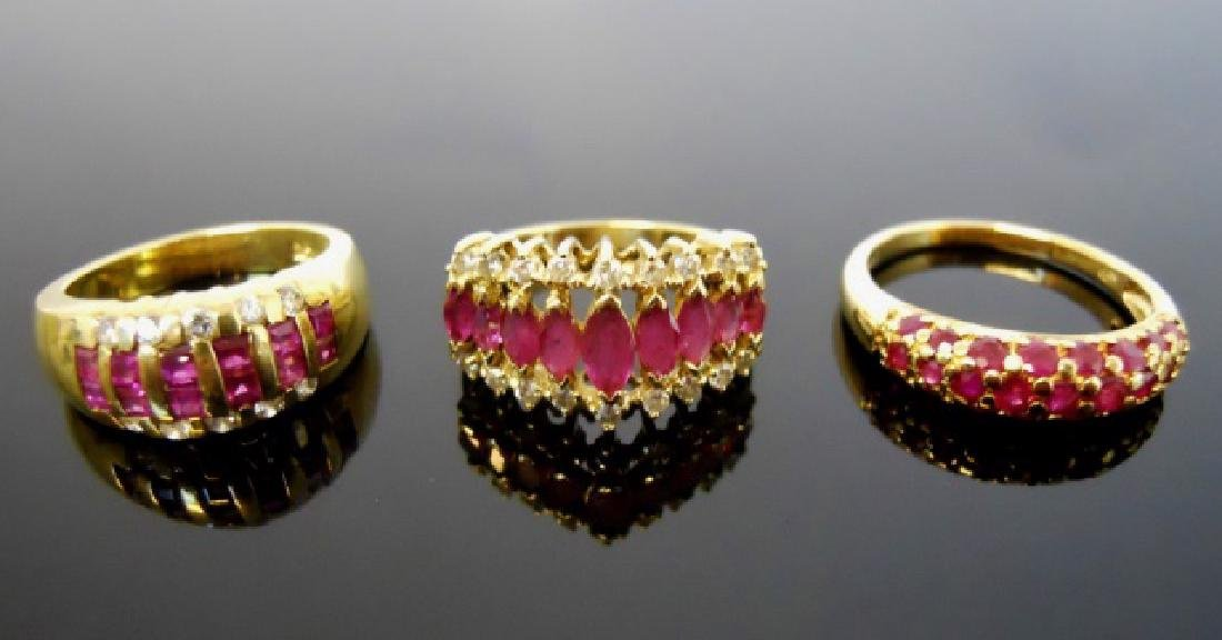 Ladies 14K Gold, Diamond, Tourmaline Rings, (3pc)