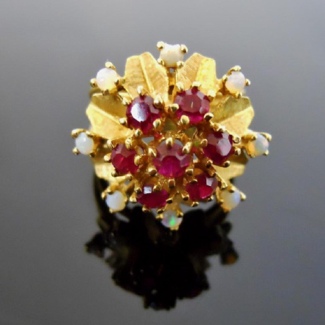 Ladies 18K Gold Opal and Ruby Ring