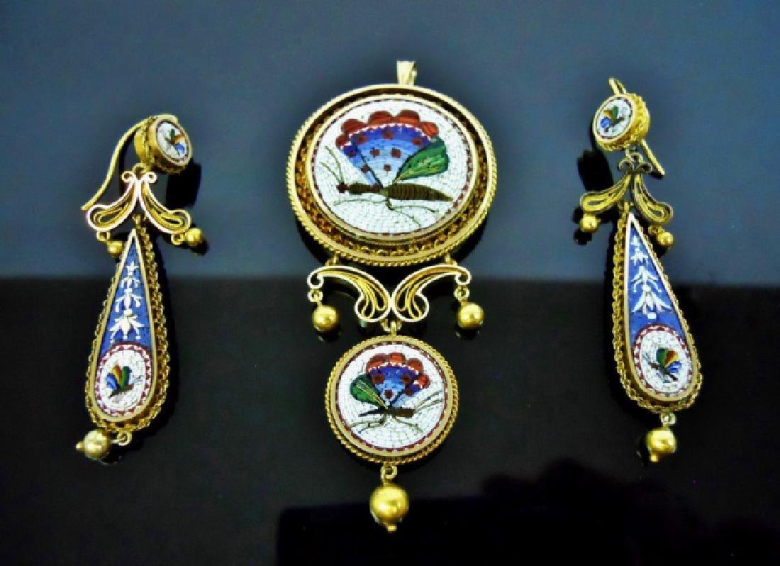18K GoId Italian Micro Mosaic Jewelry, (3pc)