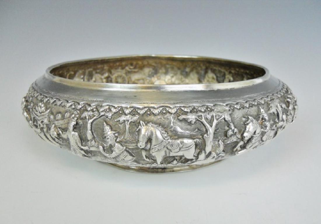 Antique Thai Silver Repousse Bowl