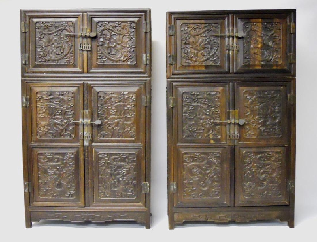 19th C. Chinese Carved Zitan Wood Cabinets