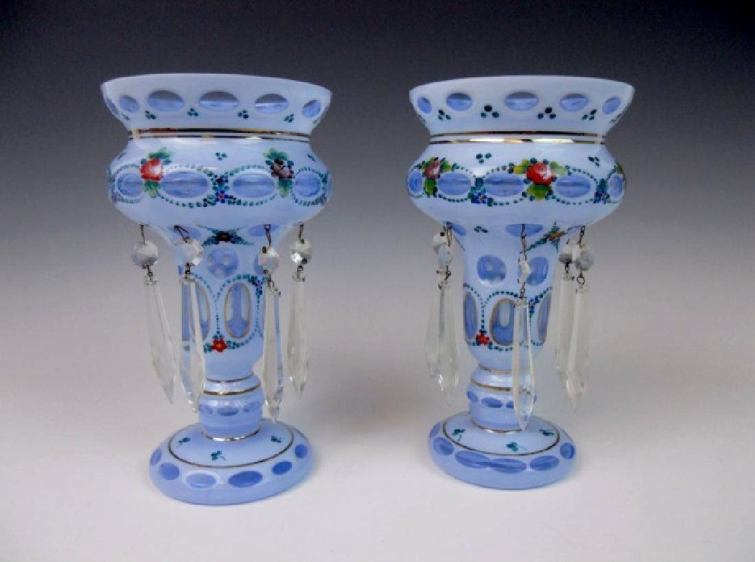 Bohemian Enameled Glass Mantel Lusters, (2pc)