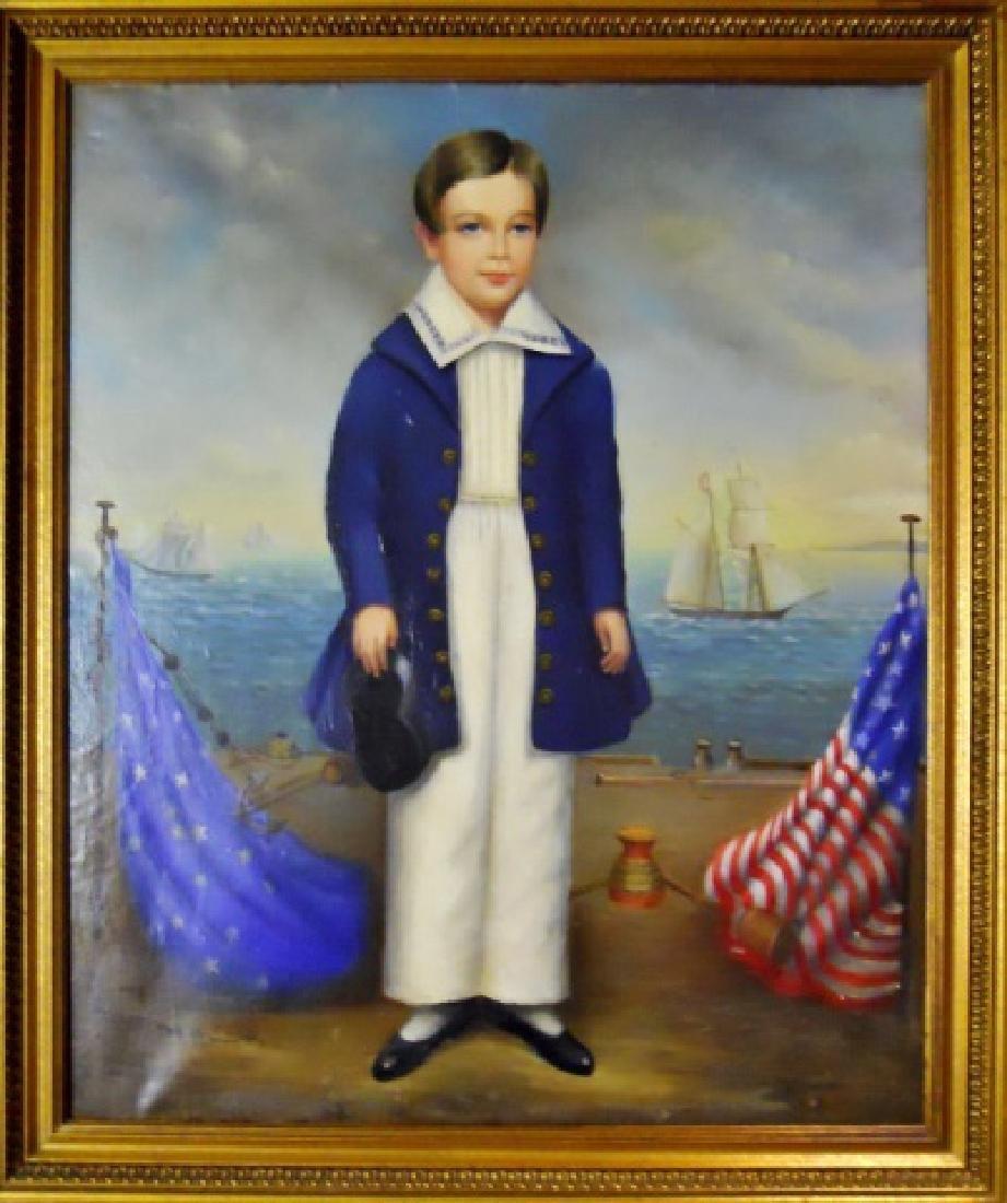 19th C. Portrait, Ship Captain's Son, Silas Doane