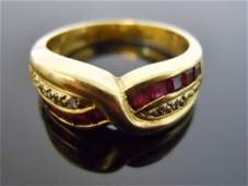 Ladies 18K Gold Ring, Diamonds and Rubies