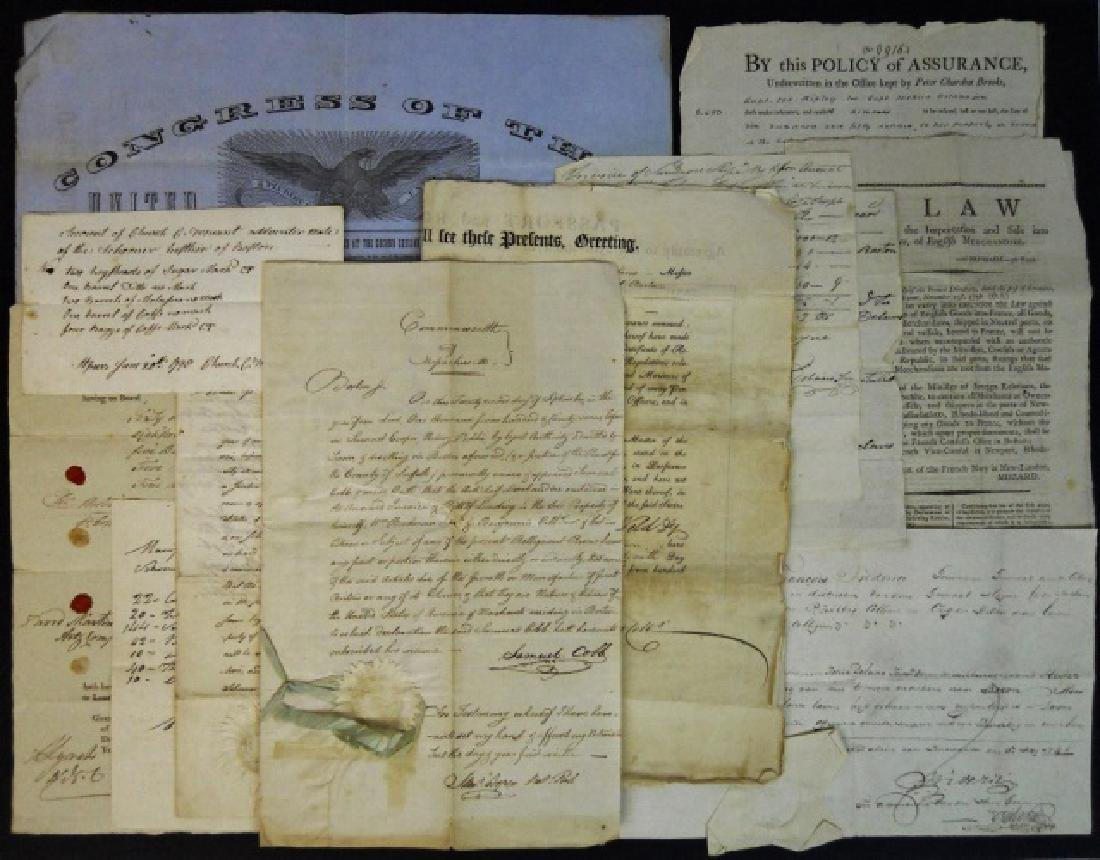 19th C. Ships' Papers, Hester, Lysander (13pc)