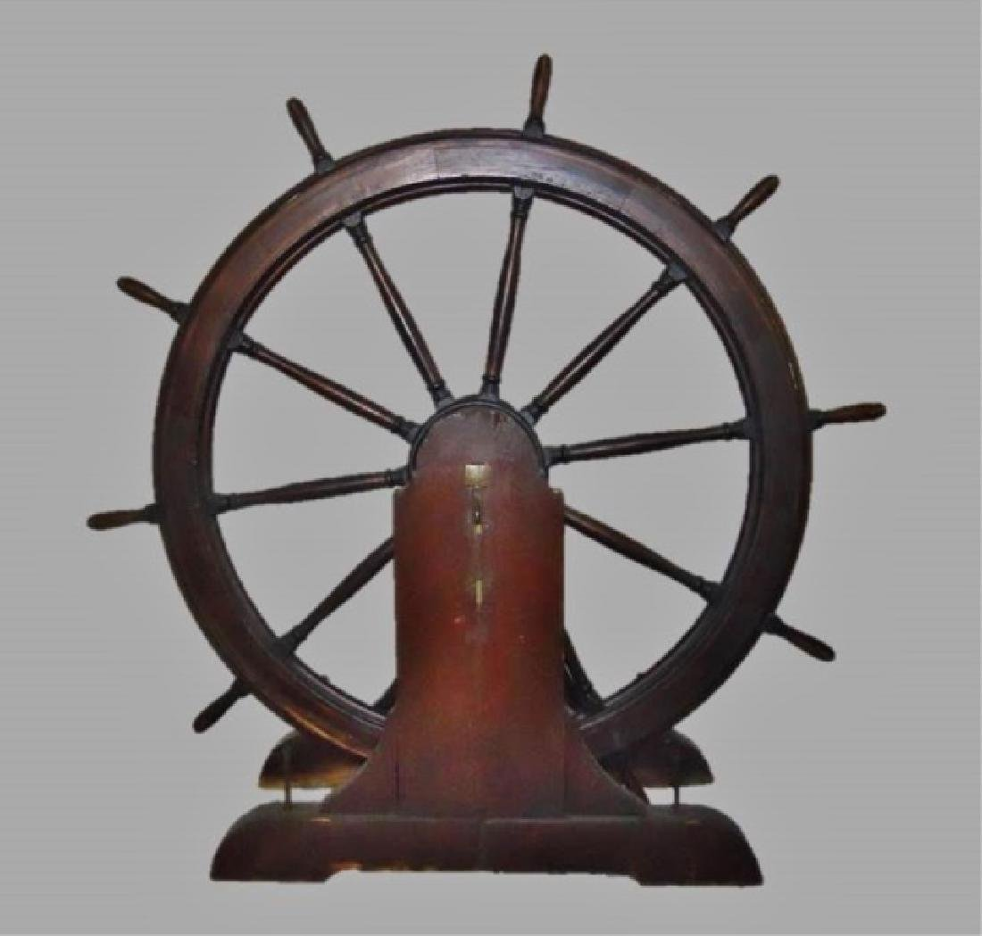 19th C. Ship's Wheel on Stanchions, S.S. Fair Lady