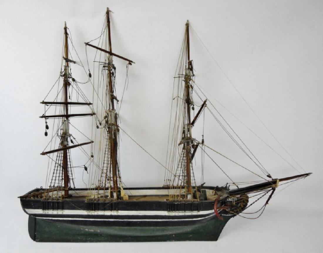 19th C. Model of  a Three- Masted Sailing Ship