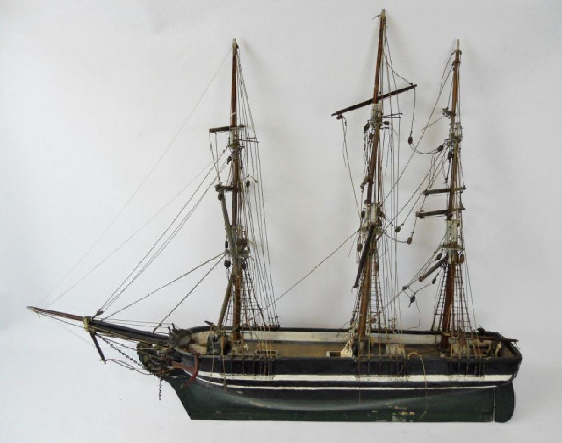 19th C. Model of  a Three- Masted Sailing Ship - 2