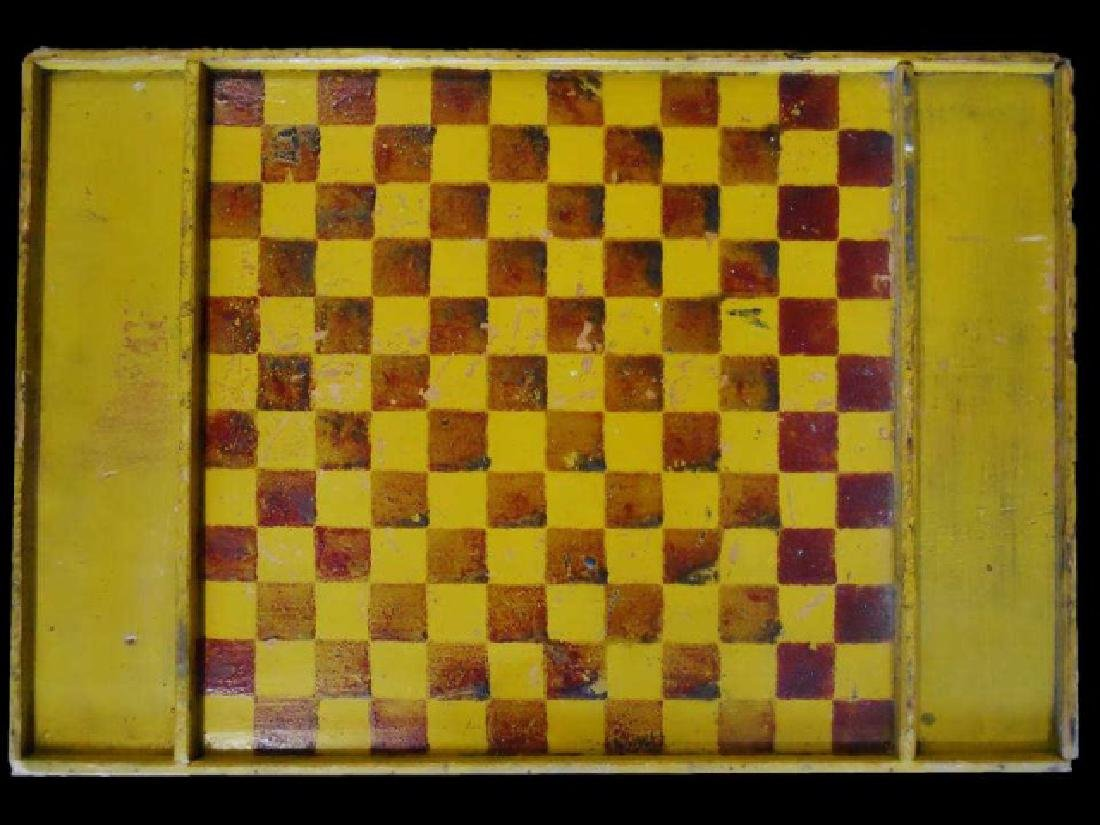 19th C. Primitive Painted Game Board