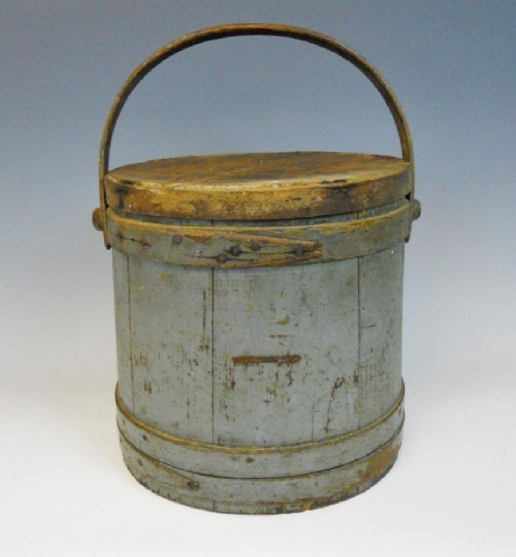 19th C. Firkin in Old Grey Paint - 2