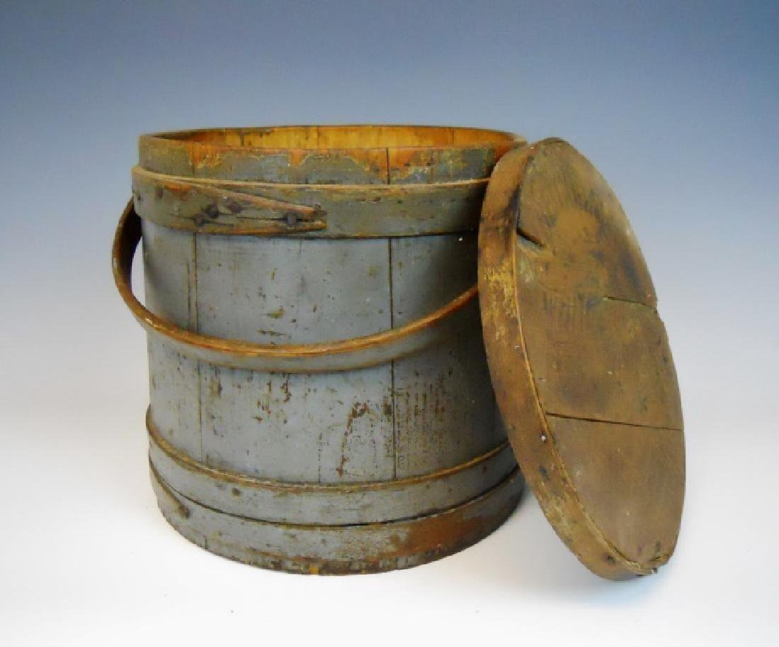 19th C. Firkin in Old Grey Paint - 5