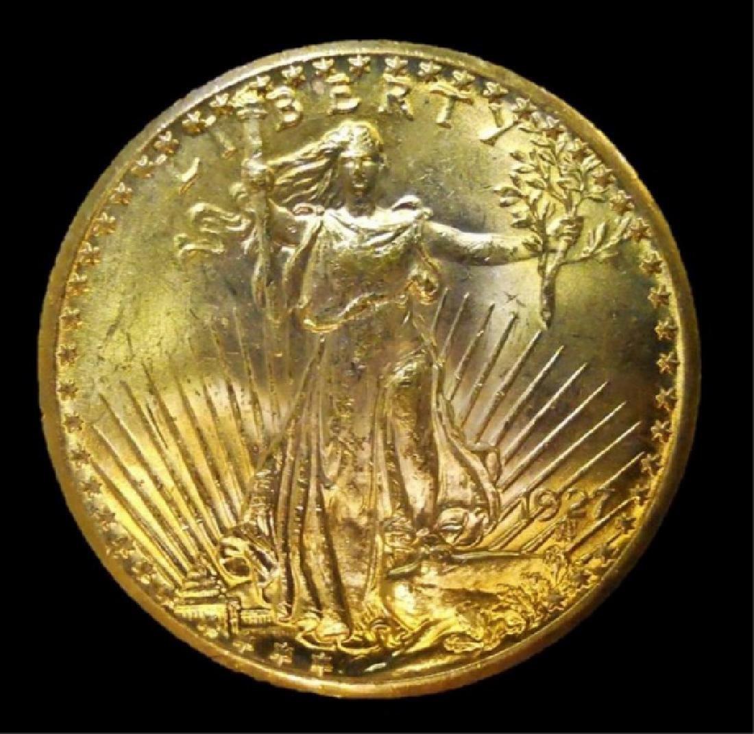 US 1927 Saint Gaudens $20 Gold Coin, BU