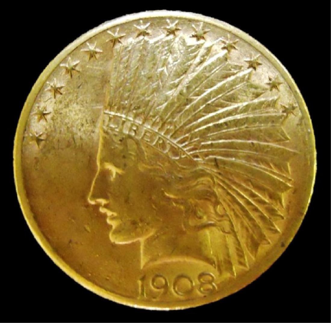 US 1908-D Indian $10 Gold Coin, AU