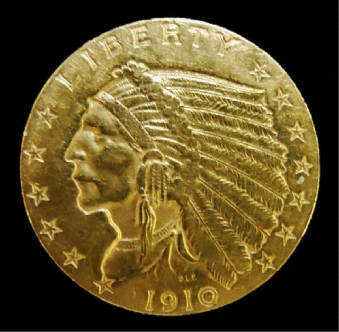 US 1910 Indian $2.50 Gold Coin