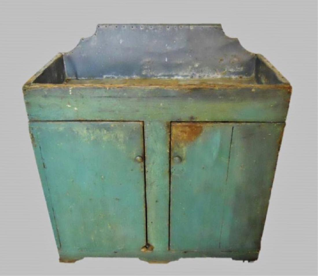 19th C. New England Dry Sink in Old Paint - 7