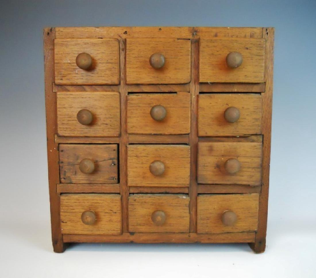 19th C. Spice Cabinet with 12 Drawers