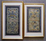 Chinese Qing Silk Embroidered Textiles 2pc