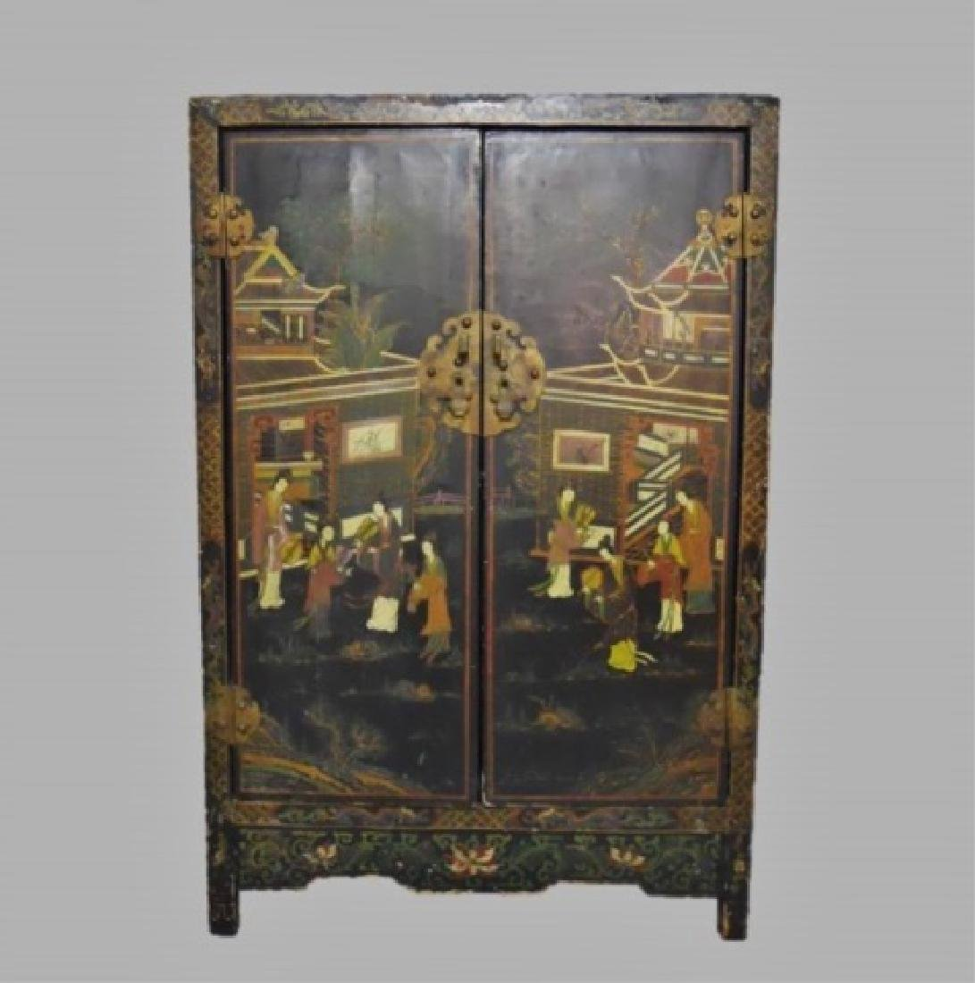 19th C. Chinese Painted Cabinet
