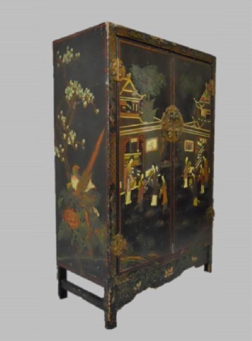 19th C. Chinese Painted Cabinet - 2
