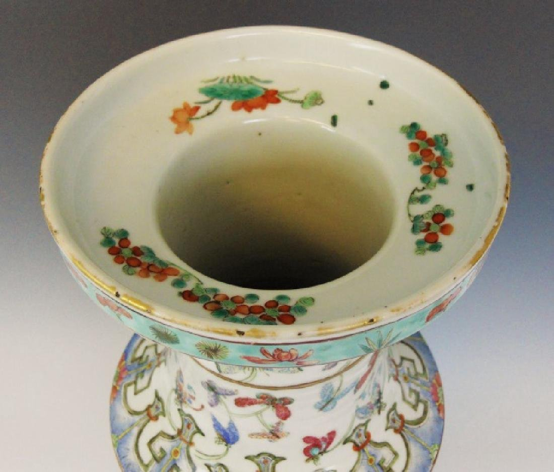 19th C. Chinese Porcelain Decorated Ground Vase - 4
