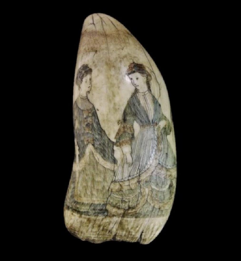 19th C. Polychrome Scrimshawed Whales Tooth