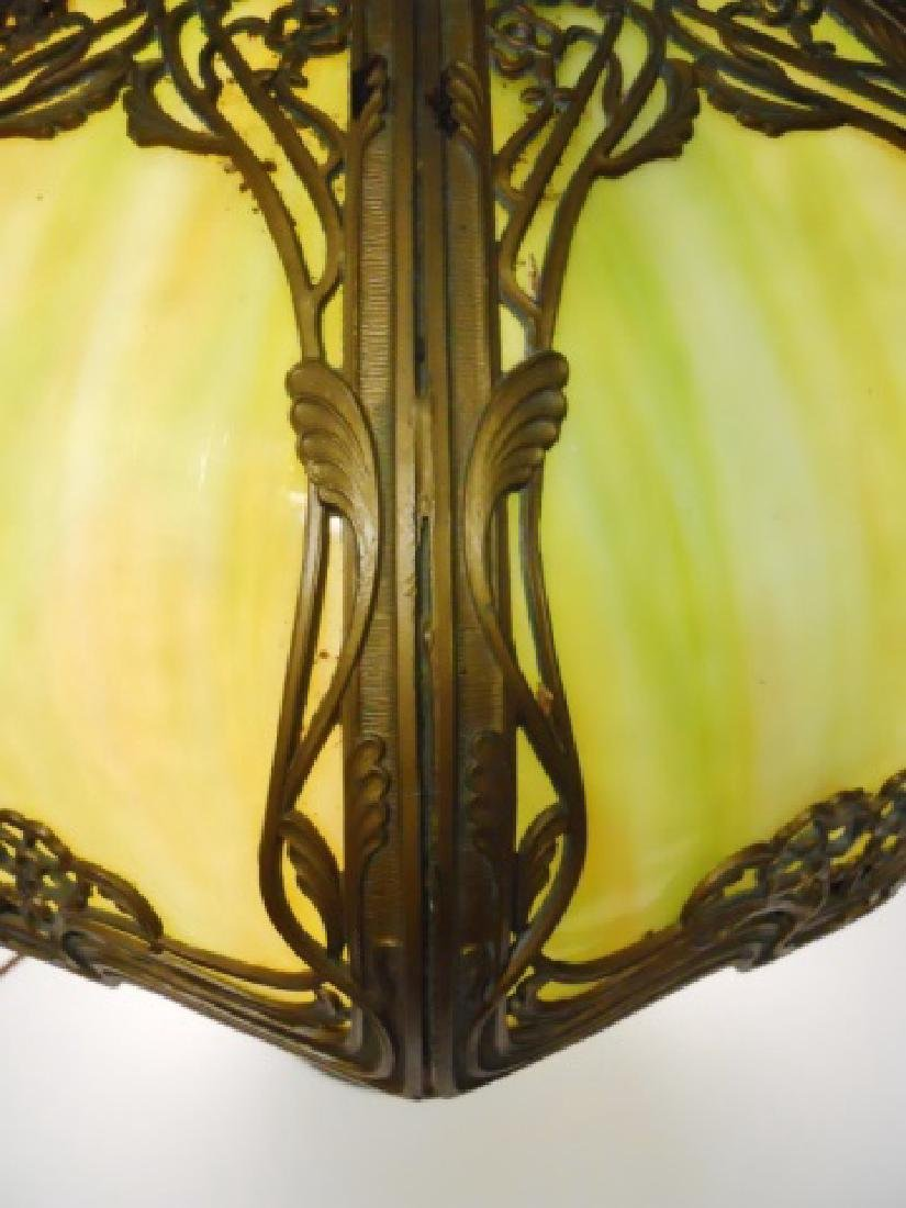 Art Nouveau Filigree over Slag Glass Table Lamp - 3