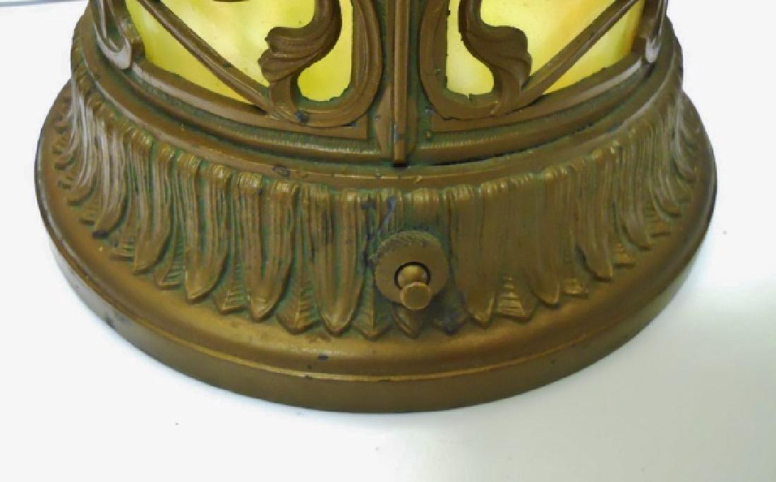 Art Nouveau Filigree over Slag Glass Table Lamp - 4