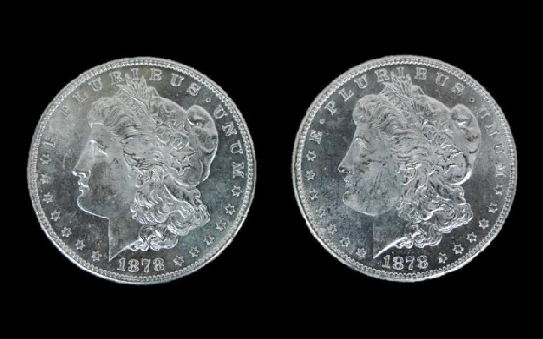 1878- S Morgan Silver Dollars BU, (2pc)