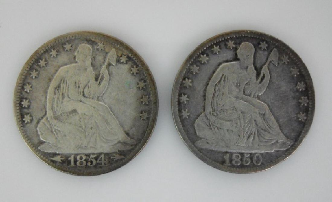 Two Seated Liberty Half Dollars, 1850-O, 1854